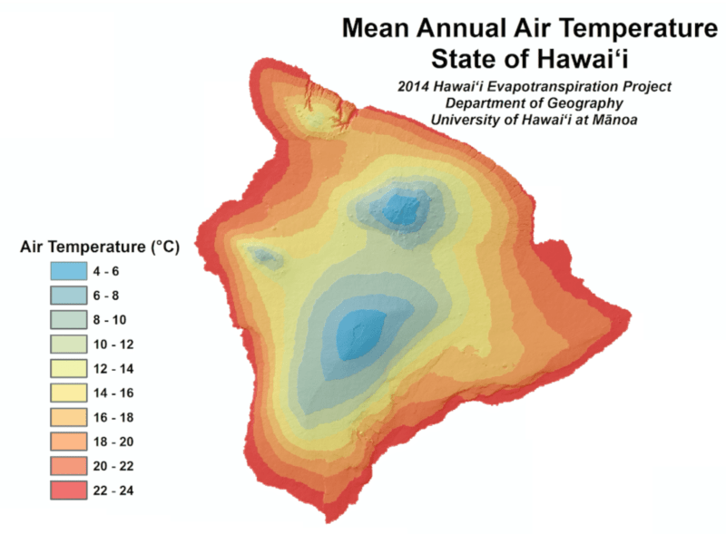 mean temperature hawaii image