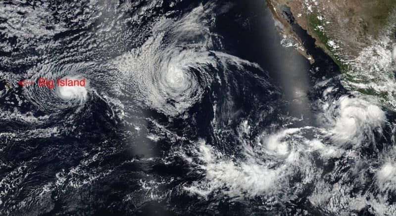 Four simultaneous tropical cyclones heading for Hawaii on July 22, 2016. From left to right: Darby, Estelle, Eight-E (which would soon become Georgette), and Frank. By National Oceanic and Atmospheric Administration, VIIRS, captured on SNPP satellite - https://lance.modaps.eosdis.nasa.gov/cgi-bin/imagery/single.cgi?image=DarbyEstelleFrankEight.A2016204.0000.375m.jpg, Public Domain, Link