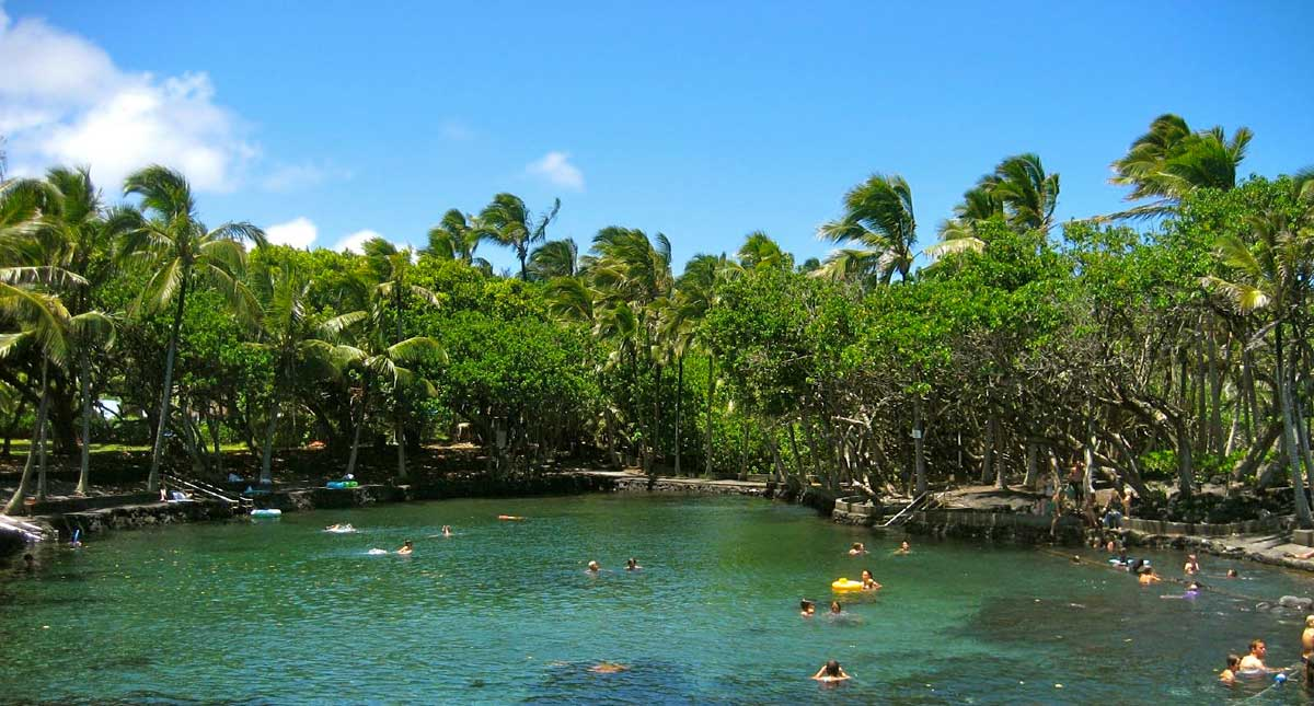 Hot ponds and hot springs on the Big Island
