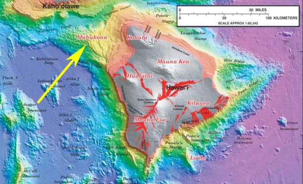 Bathymetric map of the Big Island