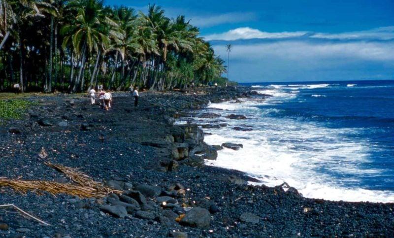 Black Sand Beach, big island, Hawaii, 1959