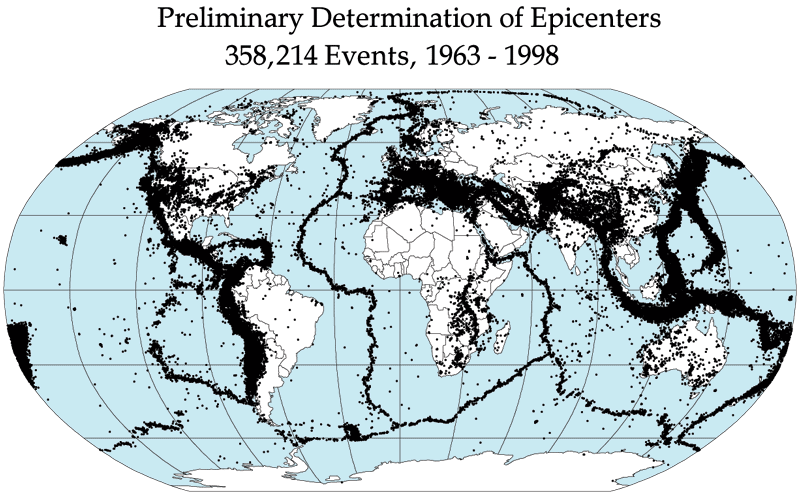 Earthquake epicenters between 1963 and 1998