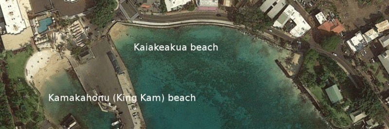 King Kam beach and Kaiakeakua beach in Kona on the Big Island of Hawaii