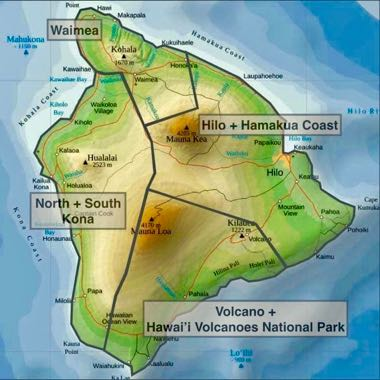 Map of the Big Island, island of hawai'i, districts county of Hawai'i