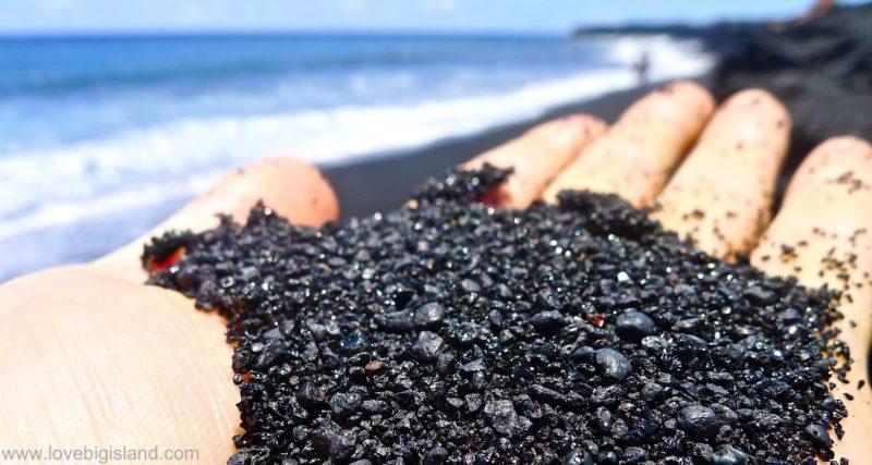 Black sand at the new beach at Kalapana