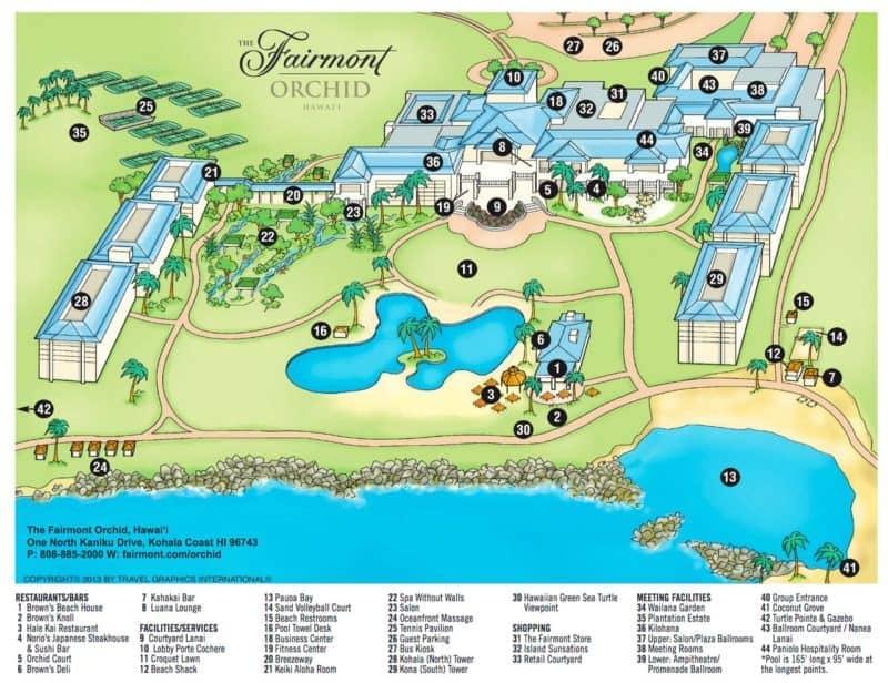 fairmont orchid hawaii, resort map, big island