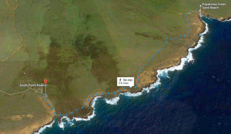 green sand beach, directions, hawaii, walking