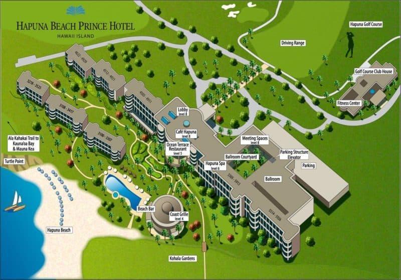 hapuna beach prince, hawaii resort, map, big island