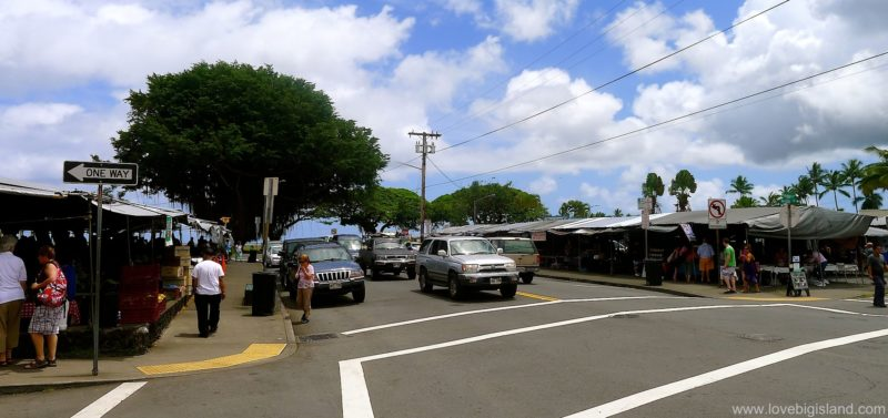 Hilo farmers market seen from uphill mauka