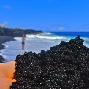 black sand, lava, kaimu beach, kalapana beach