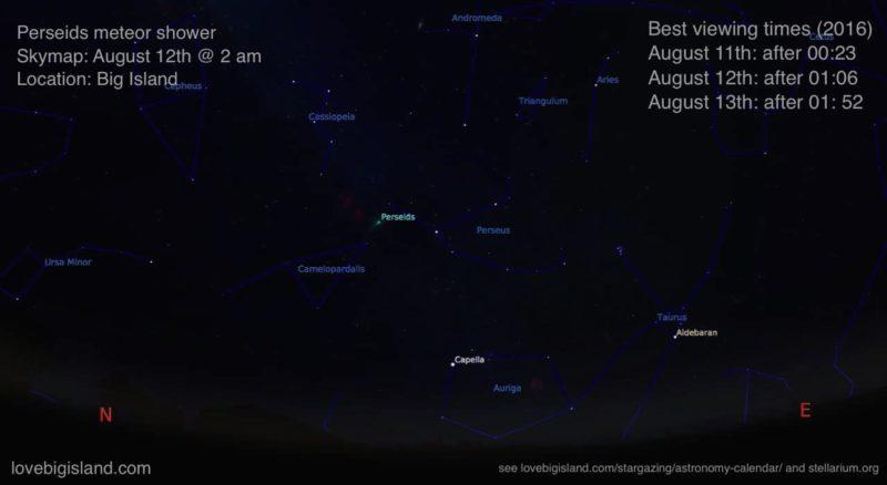 meteor shower, stargazing, big island, hawaii, perseids