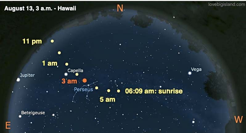 Big Island sky chart for the Perseid meteor shower