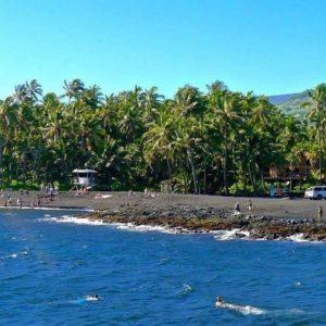punalu'u, black sand beach, hawaii, big island, beach