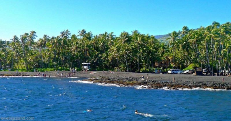 Punalu'u is a good place for swimming, taking in the sun and snorkeling (turtles!)