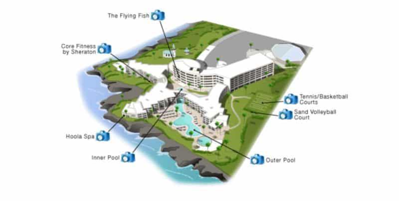 sheraton kona resort, sheraton keauhou resort, hawaii resort, map, big island