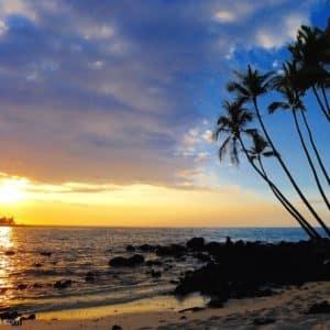 sunset at Maha'iula beach