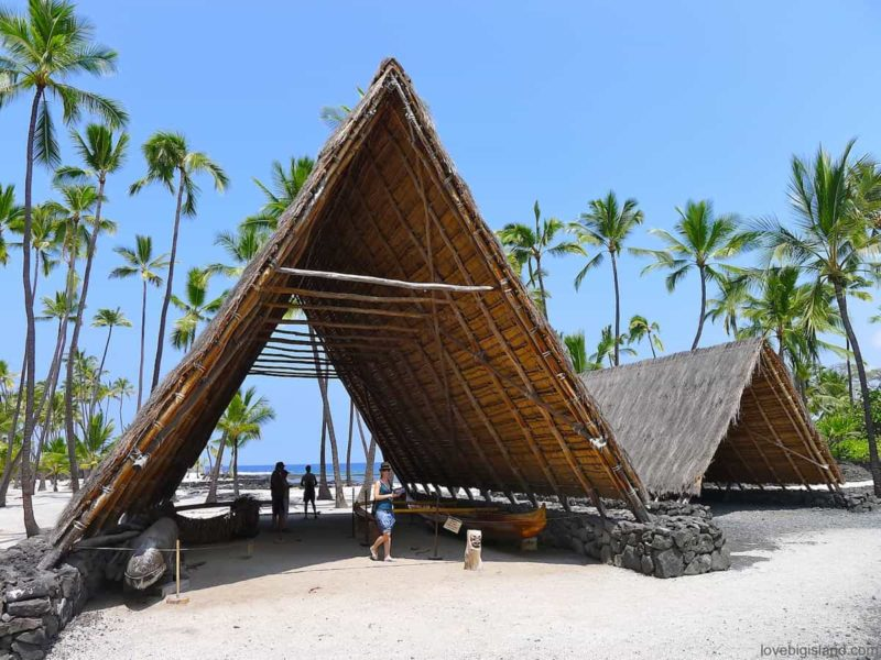 Reconstructed Halau (A-framed large structure) shelter for canoes